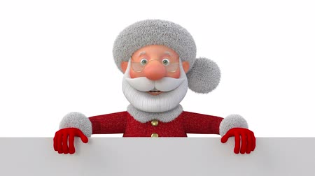 3d illustration Jolly Santa Claus with poster  3d illustration Christmas greeting fairy tale characters