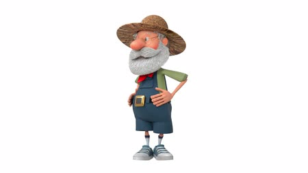 caricatura : 3D illustration farmer does morning exercises  3D illustration grandfather peasant sports in the fresh air