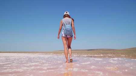 água salgada : A girl walks along the beautiful kayash pink salt lake in Crimea. Slow motion Stock Footage