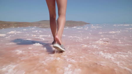 nachový : A girl walks along the beautiful kayash pink salt lake in the Crimea. Slow motion. Shooting on the steadicam