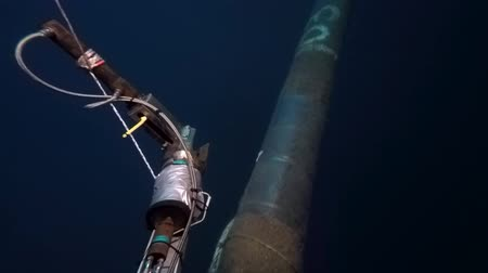 rurociąg : Remote Operated Vehicle (ROV) perform line checking and survey of underwater pipeline at 45 meters water depth in South China Sea Wideo