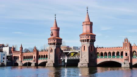 oberbaum : Hyperlapse (motion time lapse) of the Oberbaum Bridge, or Oberbaumbrucke, across the river Spree in Berlin, Germany. It links Friedrichshain and Kreuzberg. Timelapse.