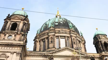 Hyperlapse (Motion timelapse) of the Berlin Cathedral, or Berliner Dom, on Museum Island by the river Spree in central Berlin (Mitte). Looks like an aerial flyby.