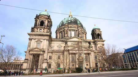 BERLIN, GERMANY - MARCH 27 2016 - Hyperlapse (Motion timelapse) of the Berlin Cathedral, or Berliner Dom, on Museum Island by the river Spree in central Berlin (Mitte).