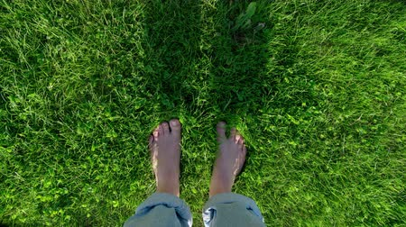 POV stop motion time lapse of small happy female feet (girl, boy, child) on green summer grass. Barefoot happiness, summer holiday vacation lifestyle. First person perspective point of view.  Moving  dancing while standing still.