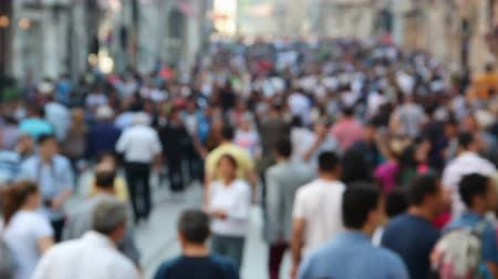 kasaba : Blurred crowd of people walking on famous Istiklal street in Istanbul, Turkey
