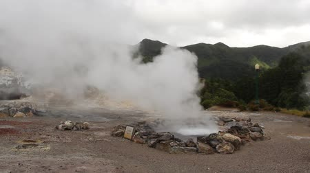 furnas : Geothermal hot springs (Caldeiras) in Furnas, Sao Miguel island, Azores, Portugal Stock Footage