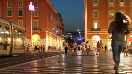 lafayette : Place Massena at night, the main square and popular touristic place in Nice