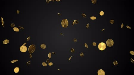 seamless loop of golden dollar coins with alpha. 3d render Стоковые видеозаписи