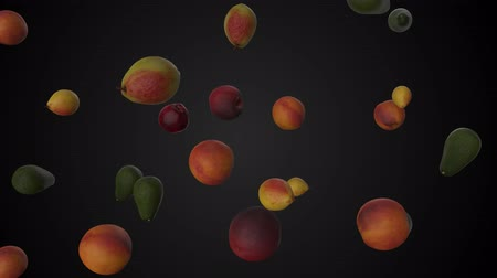 seamless loop of falling fruits. 3d render