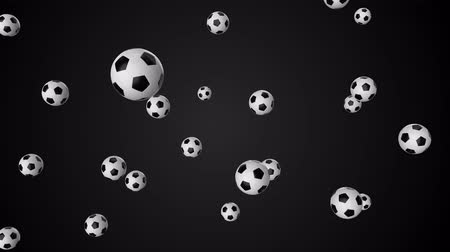 seamless loop of falling soccer balls. 3d render Стоковые видеозаписи