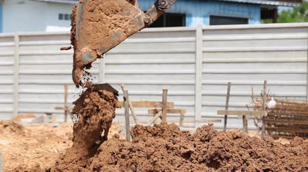 septic : Excavator Backhoe work in construction site