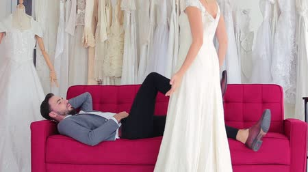 engaged : Wedding concept Women are furious to see men sleeping on the sofa