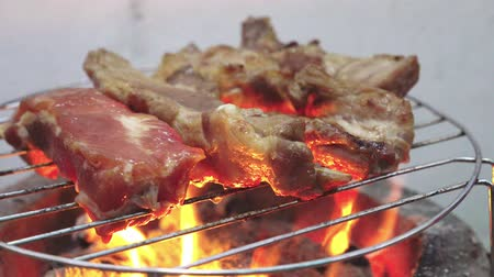 costillas : Costillas de cerdo a la parrilla Archivo de Video