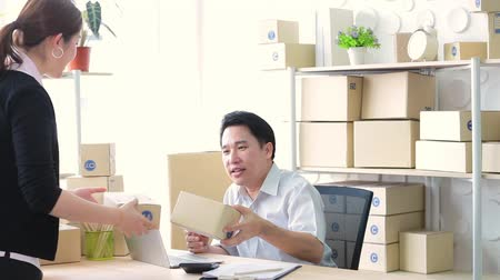 sme : Lifestyle business couple working in office, SME small business Stock Footage