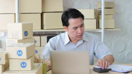 micene : Businessmen sitting in office looking screen laptop be serious, SME small business Filmati Stock