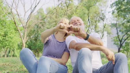 romantyczny : Elderly couple lovely relaxed sitting on grass in the park