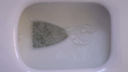 higiênico : Top view slow motion shot water being flushed in toilet Stock Footage
