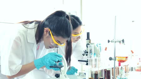 medical student : Asian science two woman student of chemistry working in laboratory