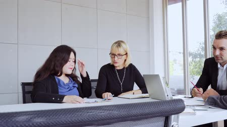 documents : Business team working at modern office Stock Footage