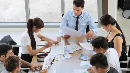 conference table : Business team working at modern office Stock Footage