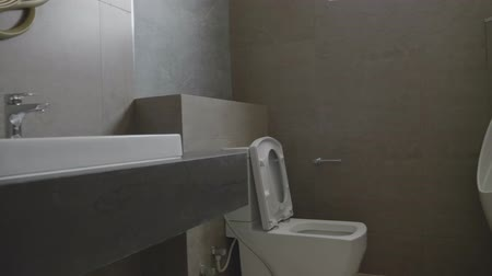 заподлицо : Modern design home bathroom White sanitary ware in the bathroom. Under construction