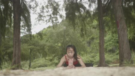 visszavonulás : Asian woman practicing yoga in forest on beach, Healthy active lifestyle concept