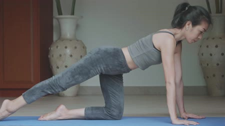 aerobica : Asian woman with a slender practicing yoga at home, Healthy active lifestyle concept
