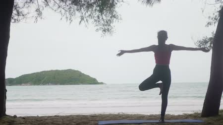 retiro espiritual : Asian woman practicing yoga in forest on beach,Healthy active lifestyle concept Archivo de Video
