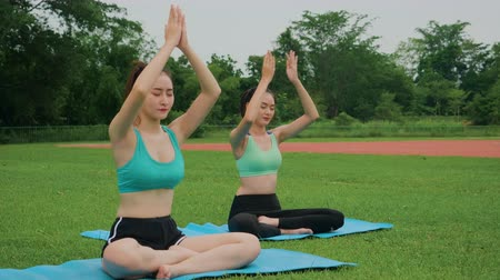отступление : Asian woman training young girl practicing yoga Healthy active lifestyle concept