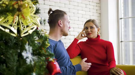 x mas : People couple sitting sofa drink wine with christmas day at home