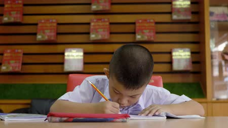 книжный шкаф : Asian schoolboy doing my homework in the library, Education concept Стоковые видеозаписи
