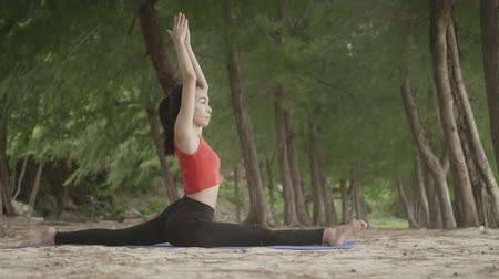 tartmak : Asian woman practicing yoga in forest on beach, Healthy active lifestyle concept