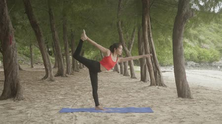 nyugodt : Asian woman practicing yoga in forest on beach, Healthy active lifestyle concept