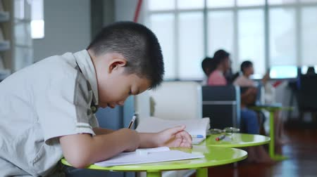 kitaplık : Asian schoolboy doing my homework in the library,Education concept Stok Video