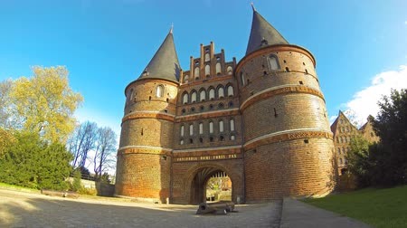 lubeck : Holsten Gate in Lubeck old town, Schleswig-Holstein state, Germany (Time Lapse) Stock Footage