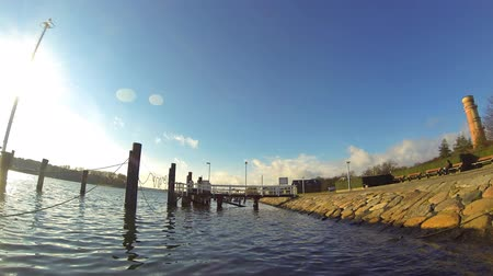 lubeck : Seaside resort Travemuende, view of the town from river Trave, Germany (Time Lapse)