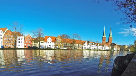 lubeck : Panoramic skyline of the medieval city of Lubeck, Germany (Time Lapse)