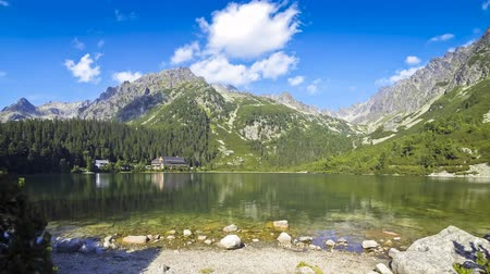 nemzeti : Picturesque view of Lake Popradske pleso in High Tatras, Slovakia Time Lapse