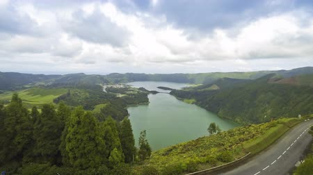 cidades : Amazing natural landscape with Sete Cidades lake, located in a volcanic crater on the island of Sao Miguel, Azores, Portugal Time Lapse