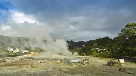 fumaroles : Hot thermal springs in Furnas village, Sao Miguel island, Azores, Portugal Time Lapse Stock Footage