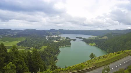sete : Amazing natural landscape with Sete Cidades lake, located in a volcanic crater on the island of Sao Miguel, Azores, Portugal Time Lapse