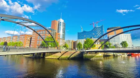 hanseatic : City of Warehouses district (Speicherstadt) in Hamburg, Germany. In 2015 this largest warehouse district in the world received UNESCO world heritage status. Niederbaumbrucke Bridge on the foreground