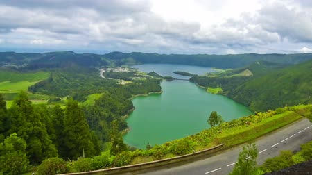 cidades : Amazing natural landscape with Sete Cidades lake, located in a volcanic crater on the island of Sao Miguel, Azores, Portugal. Time Lapse