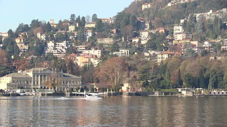 hydroplane : Seaplane aircraft floats on the water and takes off from Water Aerodrome of Como lake, Lombardy, Italy. Since 1913 Como is home to the only seaplane school in Europe