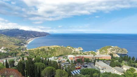 sycylia : Aerial view of Ionian sea coast near Taormina town, Sicily, Italy. Time Lapse