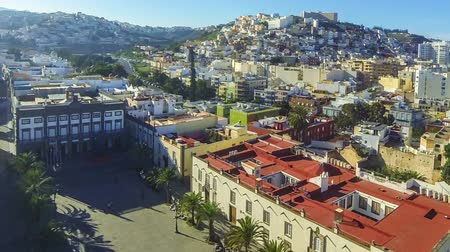Panorama of the city of Las Palmas de Gran Canaria, Canary Islands, Spain. Aerial view from belltower of the Cathedral of Santa Ana. Plaza de Santa Ana and old town on the background. Time Lapse