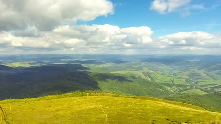 bölmek : Picturesque landscape of Carpathian mountains in early autumn. View from mount Pikui (1405m), Carpathians, Ukraine. Time Lapse