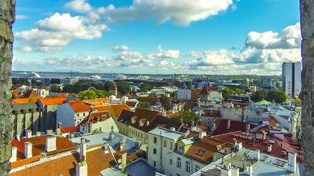 Aerial view of Historic Centre of Tallinn, capital of Estonia. Tallinn Old Town (Vanalinn). Time Lapse. FullHD video