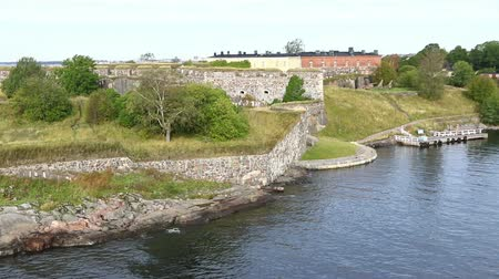 Bastions of finnish fortress Suomenlinna (or sweeden name Sveaborg) at the coast of Baltic sea near Helsinki city, Finland. FullHD video
